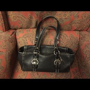 Coach large Chelsea black leather shoulder bag